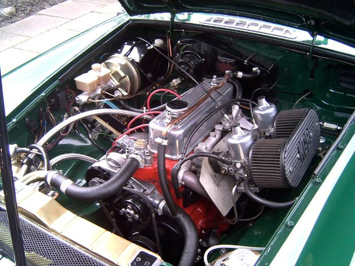 Engine bay of my 1980 Roadster following rebuild to 2 Litres. Now hits 80mph in third and will accelerate past 100mph with ease...but not on public roads of course! Great fun.