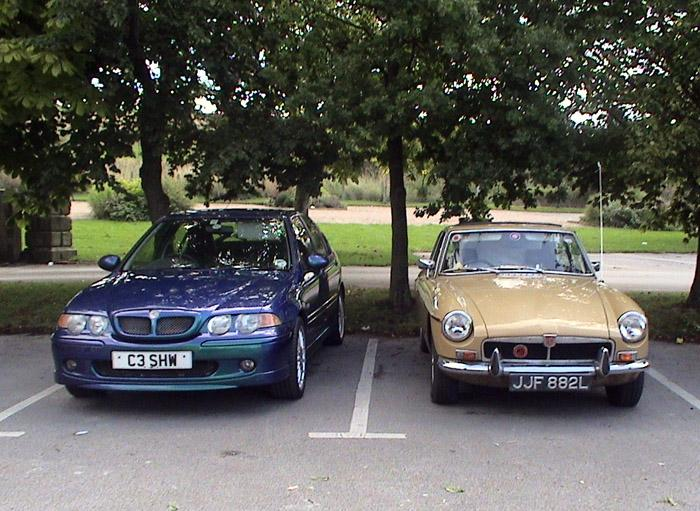 Christine's ZS and my BGT at Walton Hall, Wakefield on our wedding day