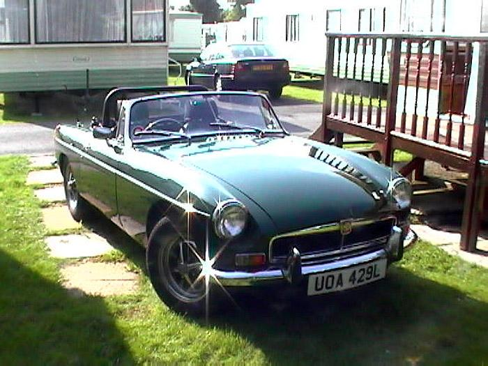 This photo was taken of our MGB Roadster outside our caravan during the summer of 2003