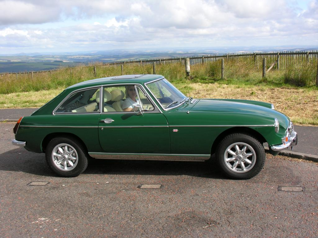 On top of A68 Carter Bar enroute to MG event at Newby Hall 6th August 2005