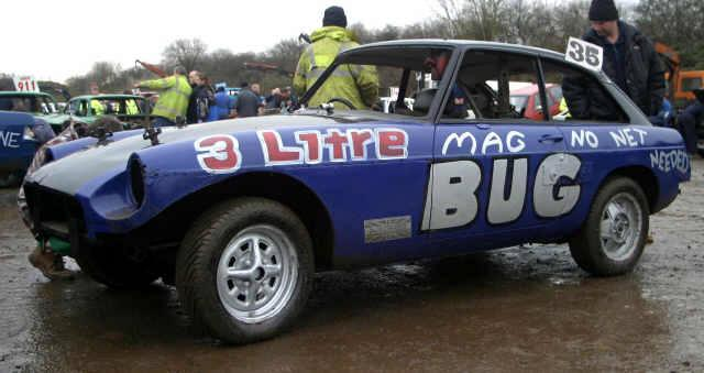 MGB GT LE at the races - a sad ending for any MGB