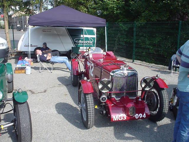 "This shows how hard work it is to drive a pre war MG - taken after practice at the ""Spa Six Hours"" races in Francorchamps (September 23, 2005)"