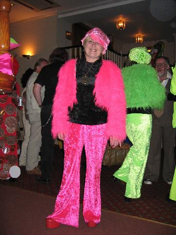 Sandra's very pink fancy dress costume.