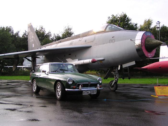 My BGT in front of and 11 Sqn English Electric Lightning now based at the Yorkshire Air Museum Elvington York