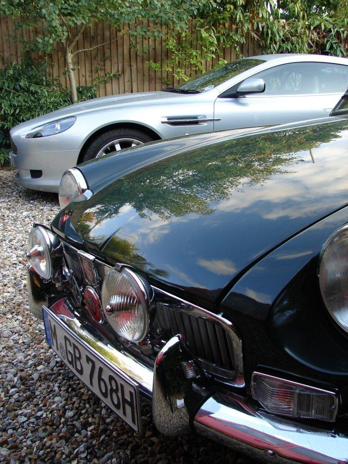 Nice couple... 1968 MGB GT and 2005 Aston Martin DB9