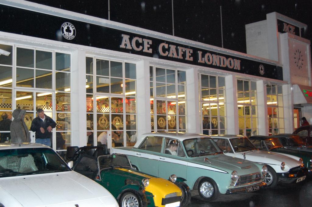A very wet night at the Ace cafe in February.
