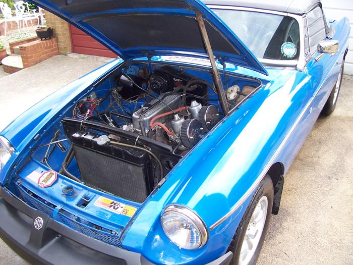 This is my favorite MG my 1975 Tahiti Blue MGB roadster I use it all year round