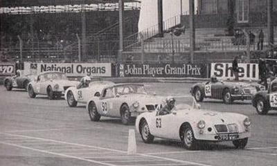 Our Twin Cam racing at Silverstone - fron of grid. As featured in Safety Fast.