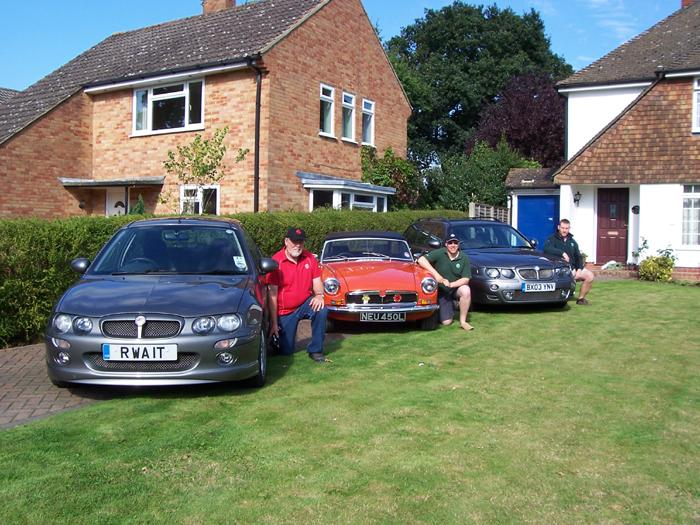 This shows the family fleet of MG's.  My Dad's ZR, my B Roadter and my cousins ZT-T.