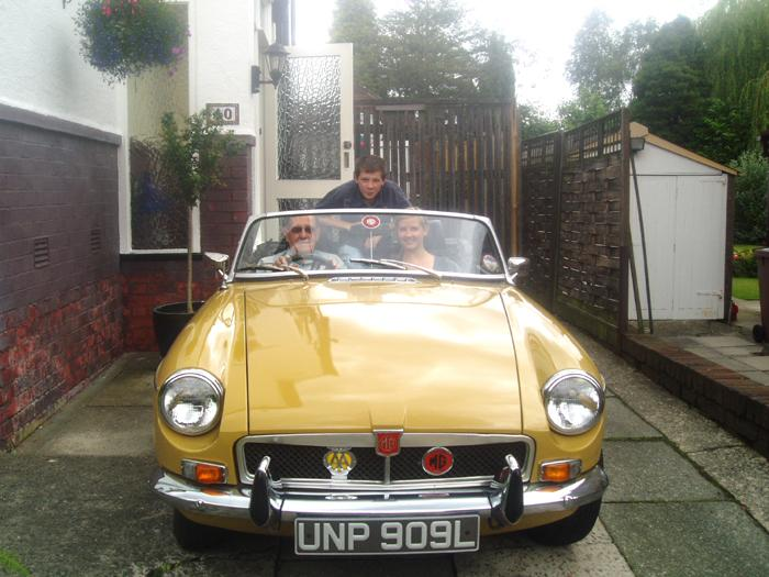 My son, my daughter and my Grandfather in my 1973 MGB, Beatrice.