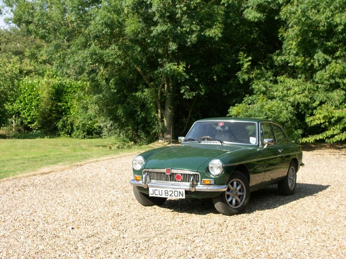 Large gravel drive for  a tired MGB after arriving at the B&B