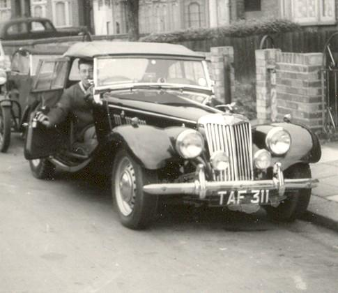 1954 MG TF 1250. At Woodford Green, Essex. In 1959.
