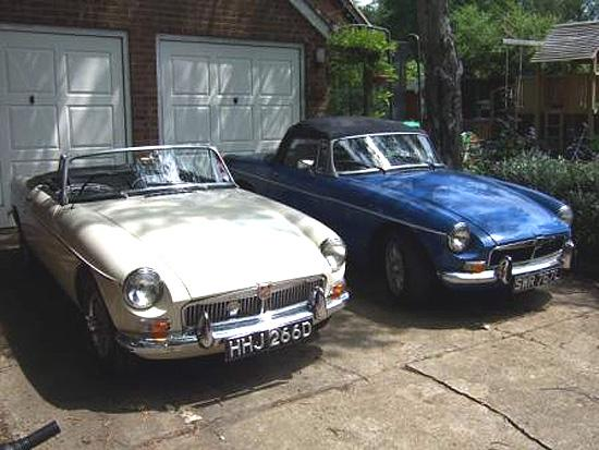 My 1966 old english white and 1973 blue MGB a potential V8