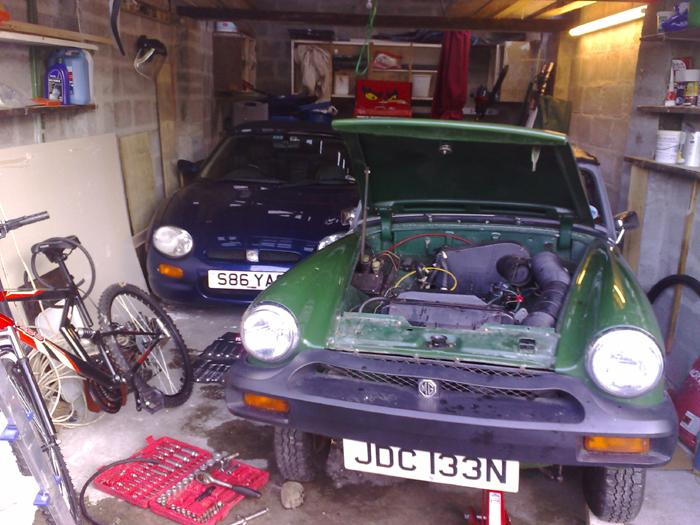 MGF VVC and MG Midget snugly together in a single garage with 1 inch to spare either side!!