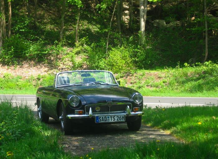 My MG out in the country on a warm sunny sprng day.