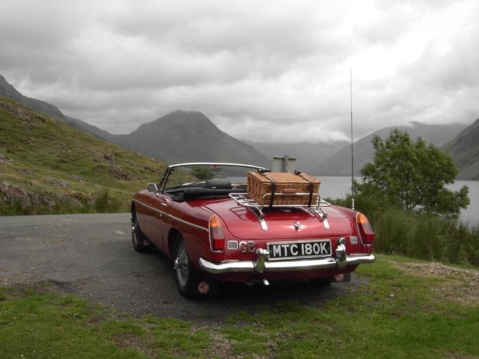 Our MGB at Wast Water in the Lake District