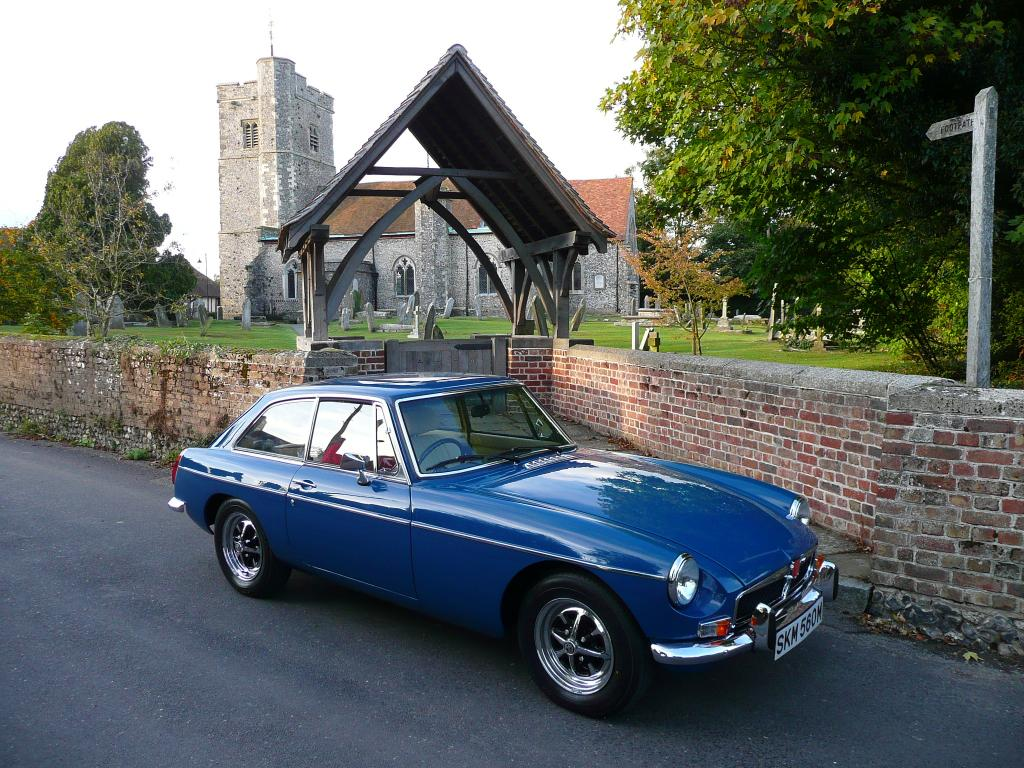 1973 MGB GT teal blue outside Bredgar church in kent