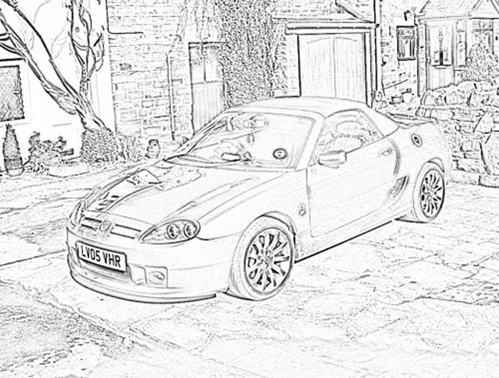MG TF 160 Spark -pencil sketch effect