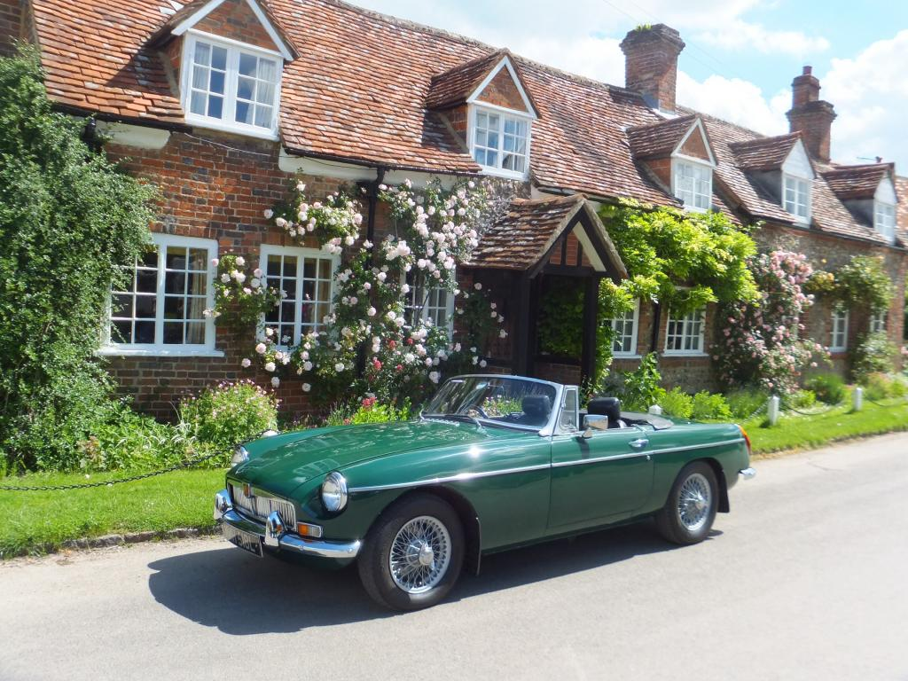 My MG outside cottages in Turville, Bucks